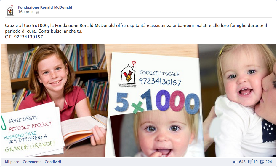 5 x 1000 fondazione ronald mcdonald