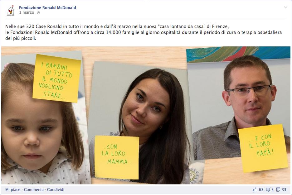 facebook fondazione ronald mcdonald
