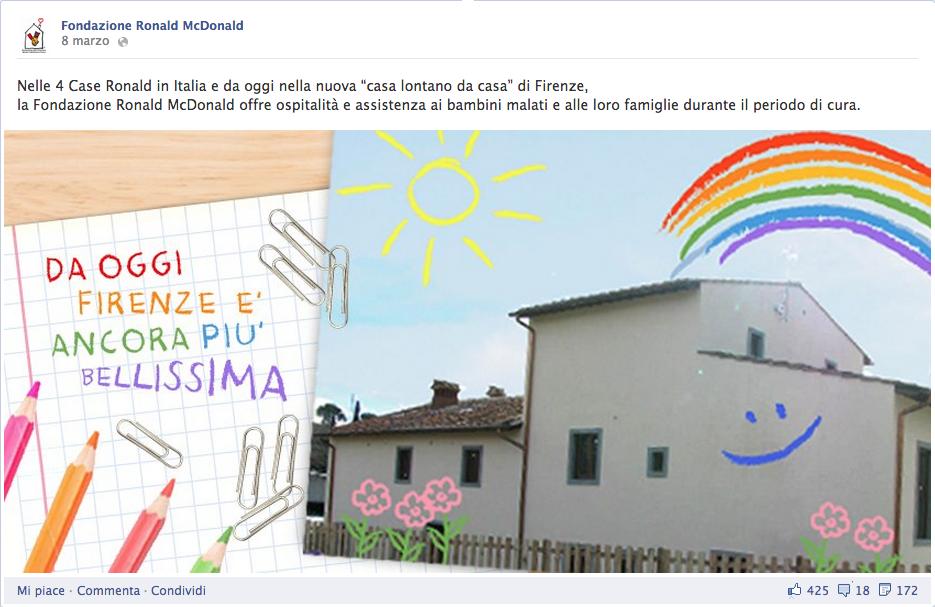 promozioni social fondazione ronald mcdonald