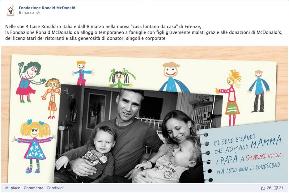 pubblicità facebook fondazione ronald mcdonald