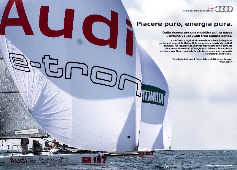 pubblicità Audi tron Sailing Series automotive copywriter