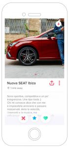 Nuova SEAT Ibiza FR Pubblicita Tinder marketing