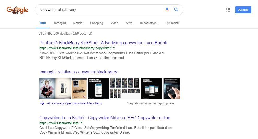 ottimizzazione copywriter black berry