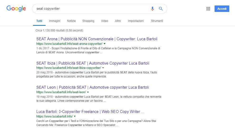 ottimizzazione seo seat copywriter