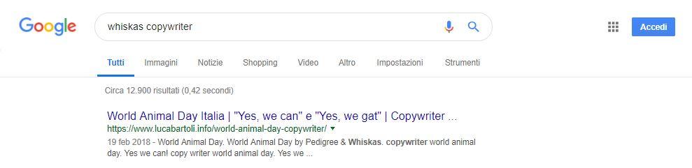 ottimizzazione whiskas copywriter