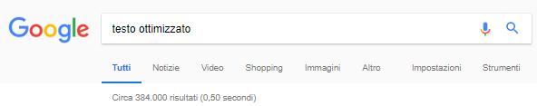 testo ottimizzato google