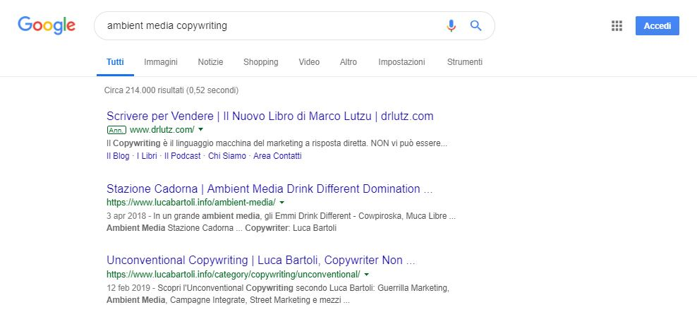 ottimizzazione ambient media copywriting