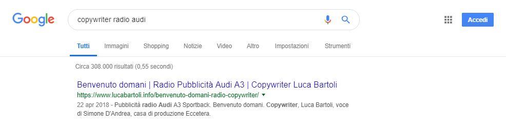 ottimizzazione copywriter radio audi