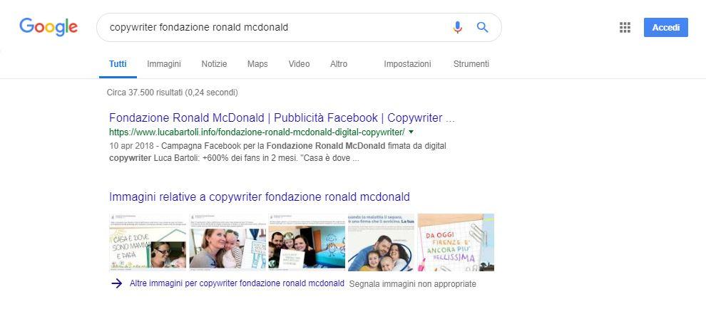 ottimizzazione fondazione ronald mcdonald copywriter