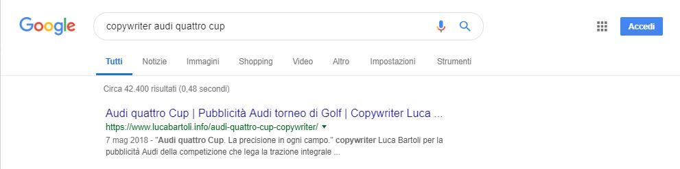 copywriter audi quattro cup
