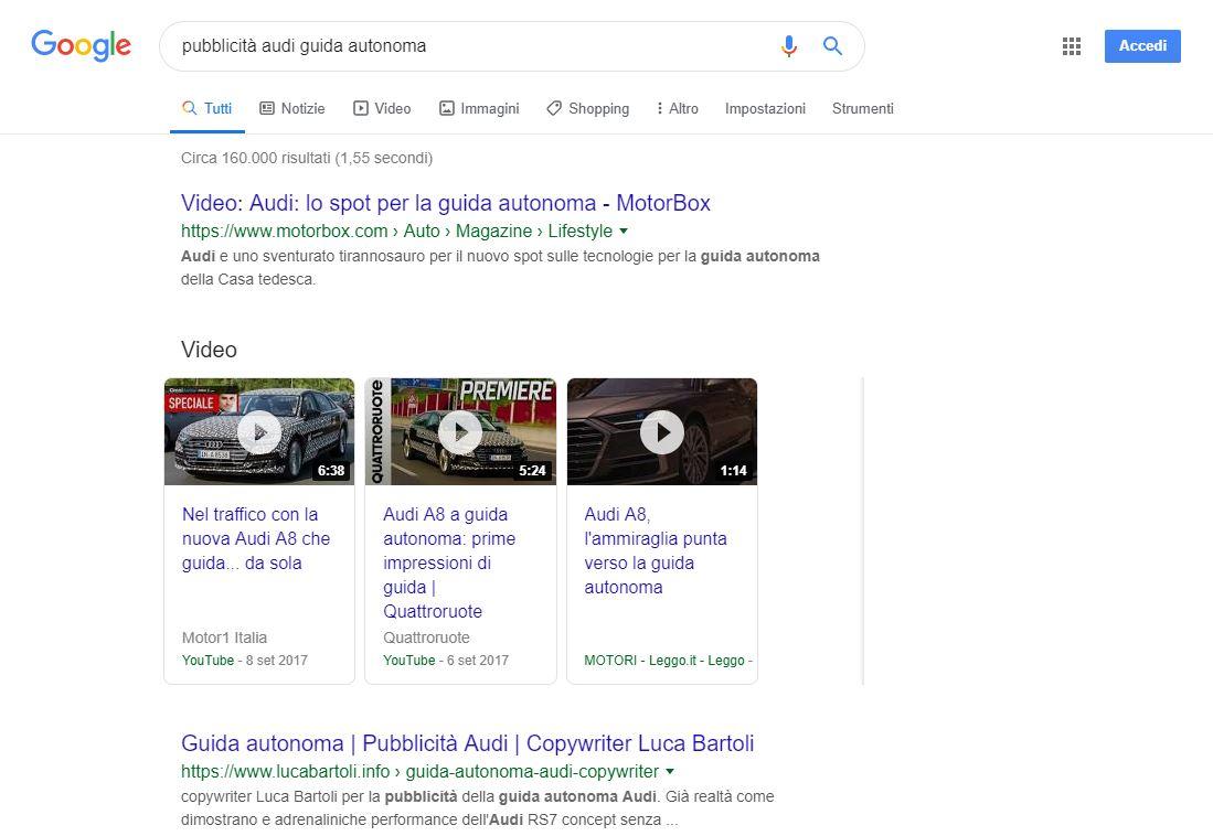 ottimizzazione pubblicità audi guida autonoma
