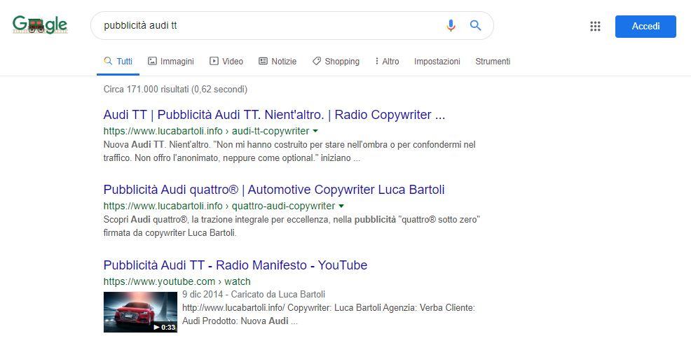 ottimizzazione pubblicità audi tt