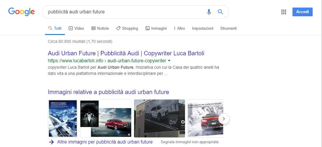 seo pubblicità audi urban future