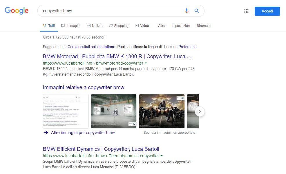 ottimizzazione copywriter bmw