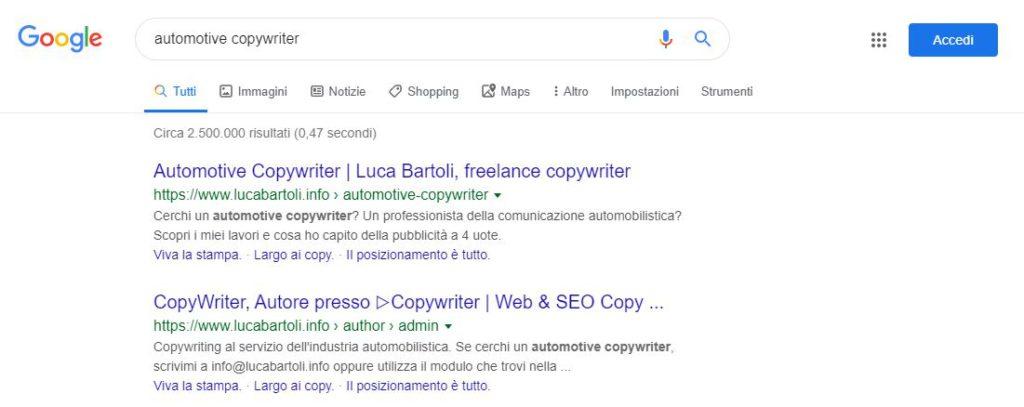 ottimizzazione automotive copywriter